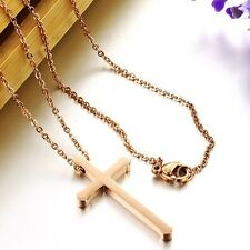 Cross Chain Pendant Necklace Women Jewelry 316L Stainless Steel Rose Gold Plated