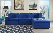 Classic Large Velvet Sectional Sofa, L Shape Couch with Wide Chaise (Dark Blue)