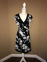 Women's Angel Made in Heaven Dress Black and White Floral Design Stretch Size L