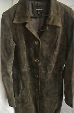 Express 5-Button Suede Leather Long Coat in a Size 13/14