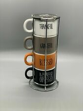 MINI Espresso Cups Mugs With Metal Stacking Rack Set Of 4 Rae Dunn Inspired 5 pc