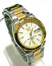 NEW SEIKO 5 TWO TONE WHITE FACE CLASSIC DAY DATE AUTOMATIC SNKE04K1 MAN'S WATCH