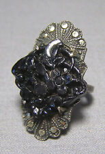 Victorian Sterling Silver Mourning Ring Black Stone Cluster In Memory Patina Ori