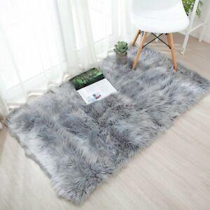 Alfombras piso lujo imitación piel oveja suave los niños juegan alfombras gris