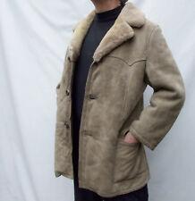 Vintage Suede real MERINO fur SHEARLING SHEEPSKIN Coat Jacket - size 40-42