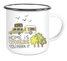 Home is where you park it camping - Emailtasse mit Rand, Email Becher
