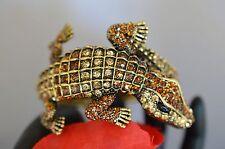 Kenneth Jay Lane Alligator Bracelet Rare Amber Topaz Pave Crystals Signed ships