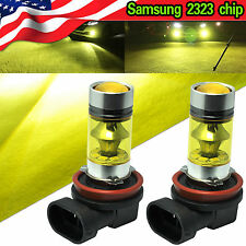 2X Yellow H11 H8 Fog Light SAMSUNG 2323 LED 100W Driving Bulb DRL