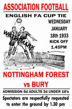 NOTTINGHAM FOREST - VINTAGE 1930's STYLE MATCH POSTER