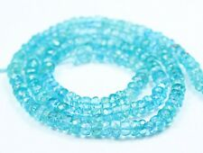 """Natural Blue Apatite Untreated Aqua Faceted Rondelle Gem Beads Strand 13"""" 4mm"""