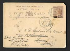 CEYLON, QV, 1889 POSTAL STATIONARY CARD OVPT 10 CENTS,USED TO UK, TEA QUOTAS?