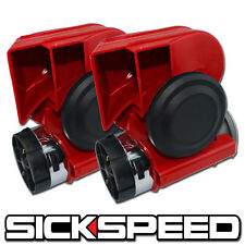 2PC RED NAUTILUS COMPACT HYBRID ELECTRIC/AIR HORN 139DB WITH RELAY FOR 12V P2