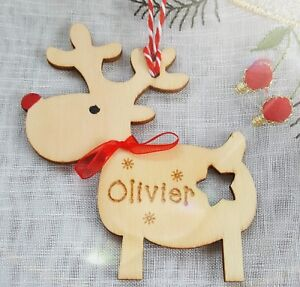 Personalised Rudolph Reindeer - Engraved Crafted Wooden Christmas Tree Bauble