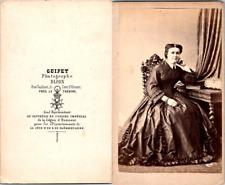 Guipet, Dijon, Femme en pose copiant l'impératrice Eugénie Vintage CDV albu