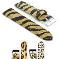 StrapsCo Faux Fur Zebra Watch Band Womens Strap in White or Beige Animal Print