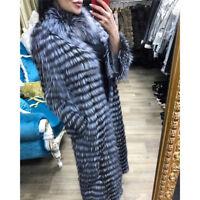 Women Natural Real Silver Vulpes Fox Fur Coat Jacket Outerwear Overcoat