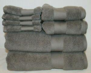 Ralph Lauren Wescott Gray Eight Piece Bathroom Towel 100% Cotton Set New