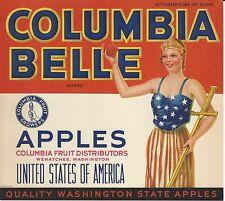 Columbia Belle Apples Original Wenatchee Washington Apple Crate Label