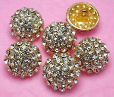 "6 Sparkling 5/8"" Clear Crystal Rhinestone Gold Buttons ~Suit/Cardigan #G498"