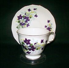 Royal Vale Teacup & Saucer Violets 8608 Bone China England FREE Stand