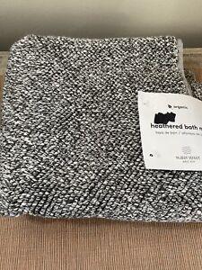 NEW West Elm Water Street Luxe Bath Mat 20 x 34 Organic Cotton Heather Gray