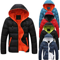 Mens Padded Jacket Coat Quilted Hooded Funnel Neck Zip Lined Casual Winter New Q