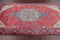 Vintage Geometric Bidjar Red/Blue Area Rug Wool Hand-Knotted Bedroom Carpet 5x9
