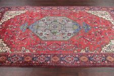 Vintage Geometric Bidjar Red/Blue Area Rug Wool Hand-Knotted Bedroom Carpet 5x9