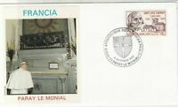 France 1986 Visit of Pope Slogan Cancels Le Monial Pic Stamp FDC Cover Ref 31683