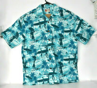 The Hawaiian Original Hilo Hattie Men's Button Up Hawaiian Shirt Blue Large