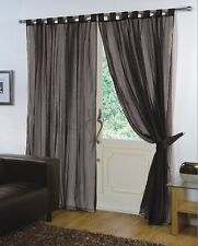 Pair of Plain Voile Tab Top Curtain Panels Tiebacks Included by Viceroy …