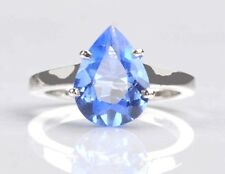 100% Natural Blue Topaz Real 14KT White Gold Pear Shape 1.50CT Anniversary Ring