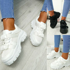 WOMENS LADIES BUCKLE CHUNKY TRAINERS PLATFORM SNEAKERS PARTY CASUAL SPORTS SHOES