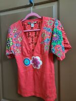 RARE DESIGUAL RED FLORAL TOP SIZE M