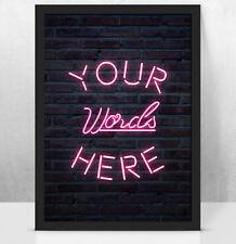Personalised Custom NEON light art print, Perfect anniversary/birthday/new home