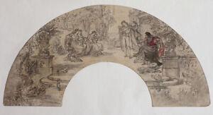 Fine 19th century drawing theatrical scene