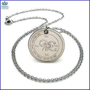 Talismano amuleto sigillo di Salomone Marte in acciaio con collana uomo donna da