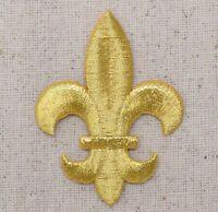 LARGE Gold Fleur De Lis Saints/Religious - Iron on Applique/Embroidered Patch