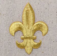 LARGE Gold Fleur De Lis Saints/Religious - Iron on Applique/Embroidered Patch