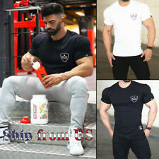 Men's Gym Workout Training Tee Bodybuilding Muscle Shaper Casual Fashion T-Shirt