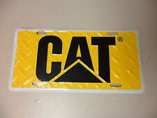 Yellow License plate tag CAT Logo with Diamond plate New Caterpillar tag