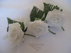 10 5 or 2 ivory or white rose buttonholes diamante centre wedding groom best man