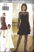 3686 UNCUT Vintage Butterick Sewing Pattern Misses Dress Loose Fitting Lined OOP