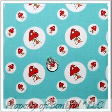 BonEful FABRIC FQ Cotton Quilt Japan Red White Blue Mushroom Smurf House Dot HTF