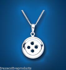 925 argent sterling bouton design pendentif & chaîne 22 x 14mm