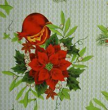 VERDE con motivo stella di Natale & Vischio PVC Tovaglia in tela cerata tessuto * per metro