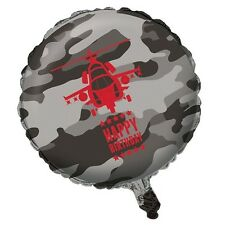 """Happy Birthday 18"""" Foil Balloon in Grey Black & Red with Helicopter"""