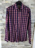 Roberto Torretta Mens Size L Luxirious Red Checked Long Sleeve Shirt