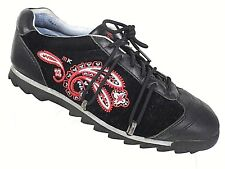 Michelle K Sport Womens Size 9 Black Suede Leather Shoes Embroidered Design GUC