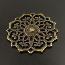 **5PCS Antiqued Bronze Vintage Alloy Round Hollow Flower Pendant Charms 01178